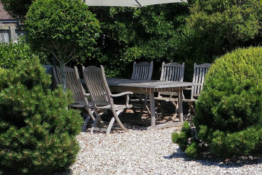 Iroko table & Chairs in the Garden
