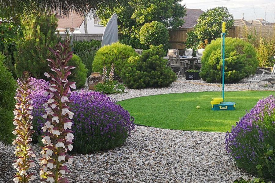 Easy grass, lavender, Bay trees, swingball